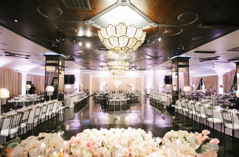 the sofia banquet hall decorated for a wedding reception