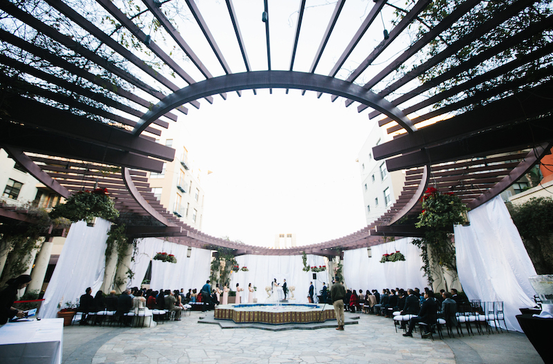 the NOOR terrace in los angeles during a wedding ceremony