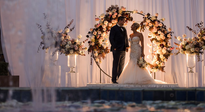 garden terrace outdoor wedding venue set up for a wedding ceremony