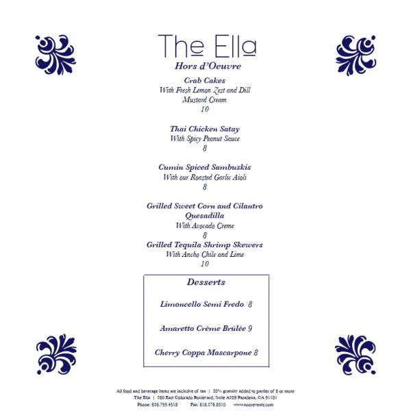The Ella Hors D' Oeuvres Menu
