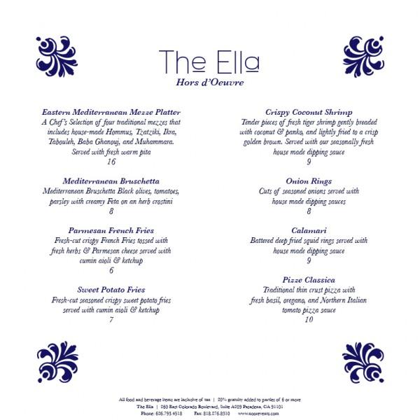 The Ella Hors d'Oeuvre Menu