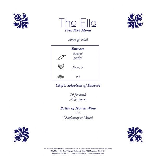 The Ella Hors Prix Fixe Menu