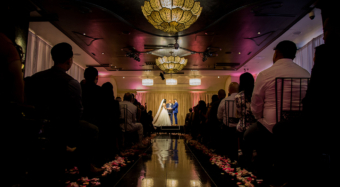 wedding ceremony in noor's sofia ballroom banquet hall in los angeles
