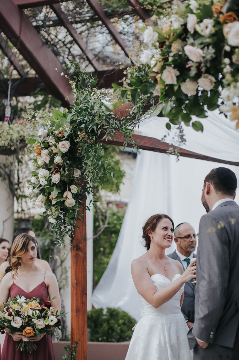 beautiful floral wedding arch for wedding ceremony at noor los angeles