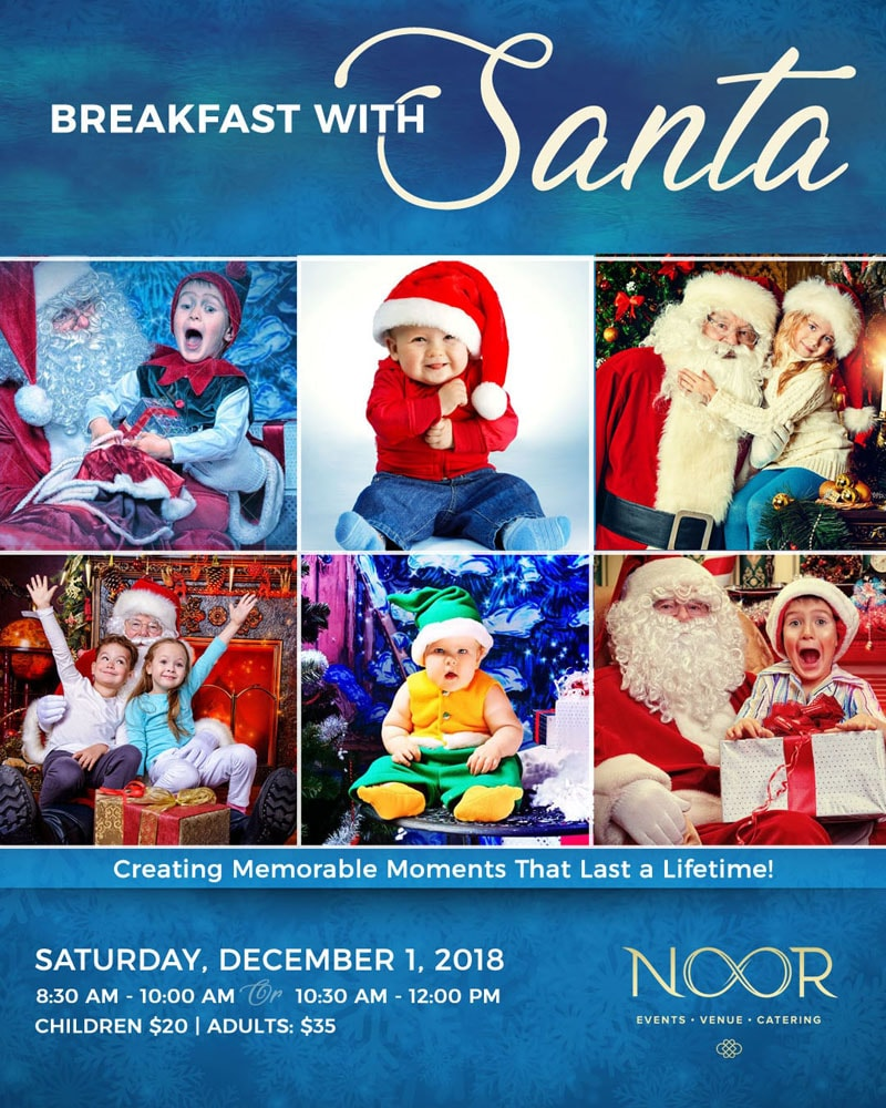 Children with Santa at Christmas at Breakfast with Santa event at NOOR in Los Angeles