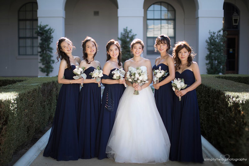 noor wedding pasadena bride with bridesmaids