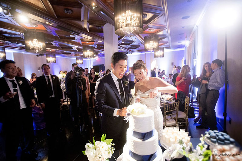 noor pasadena wedding reception cake cutting