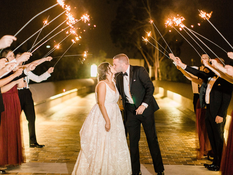 sparkler exit at los angeles wedding