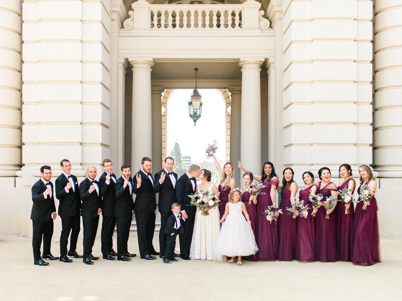 los angeles wedding party at pasadena city hall