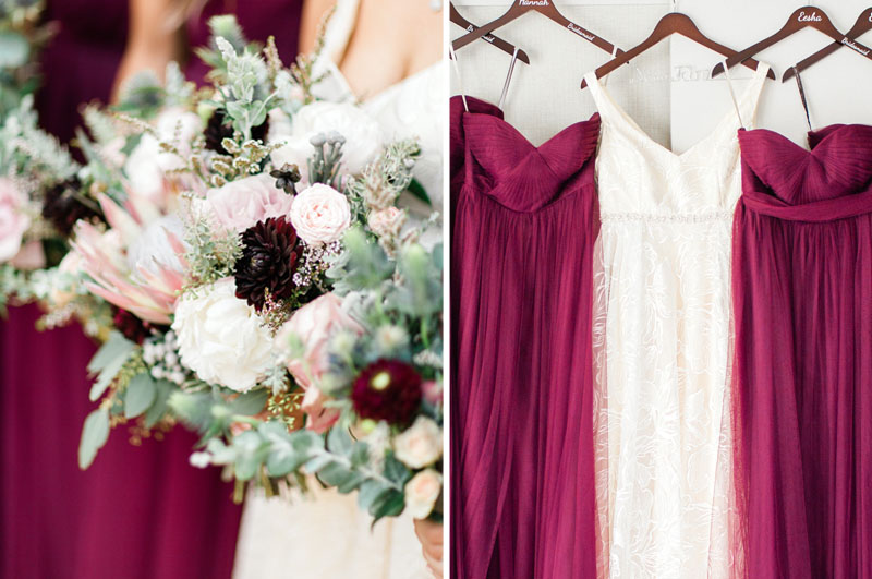 wedding bouquet with peonies and burgundy bridesmaids dresses