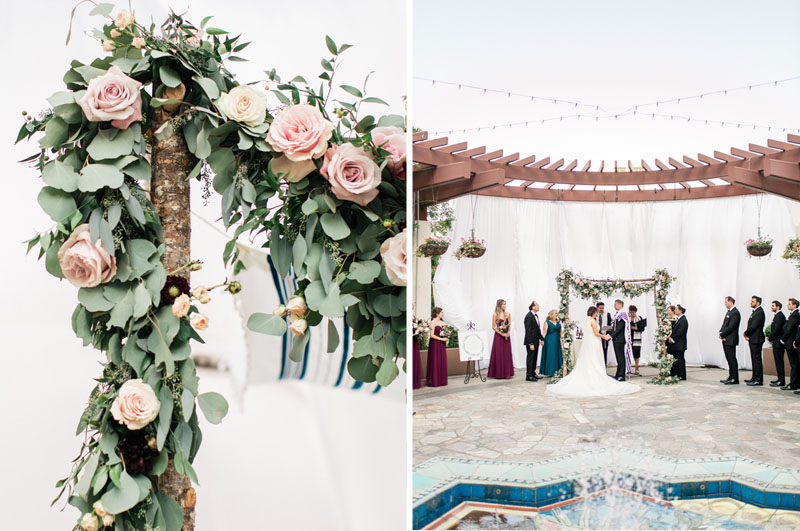 los angeles wedding chuppah details and a view of the outdoor ceremony through the fountain