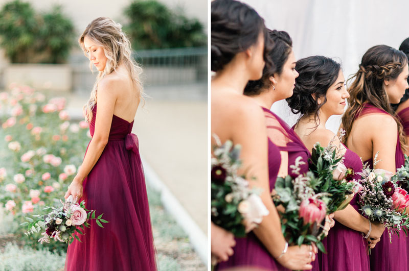 beautiful bridesmaids in burgundy dresses los angeles wedding