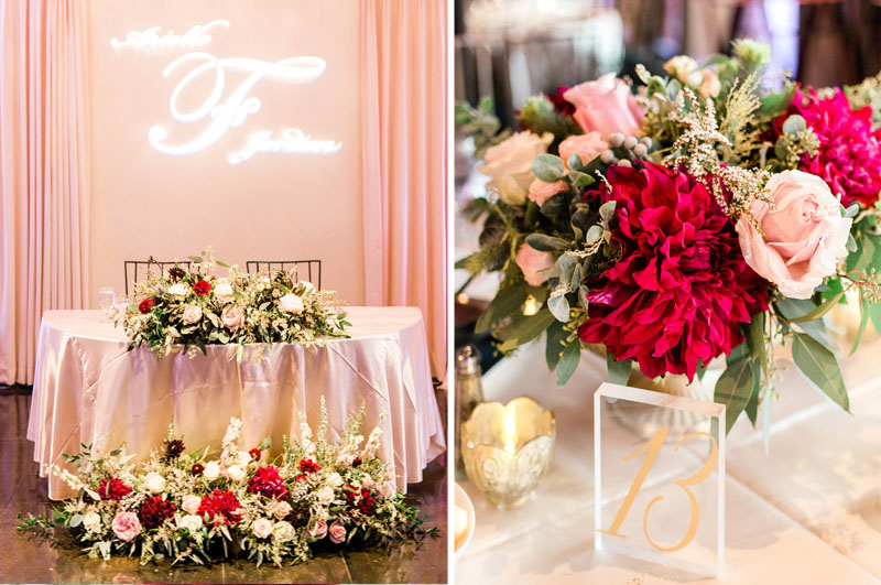 los angeles wedding sweetheart table and centerpiece details
