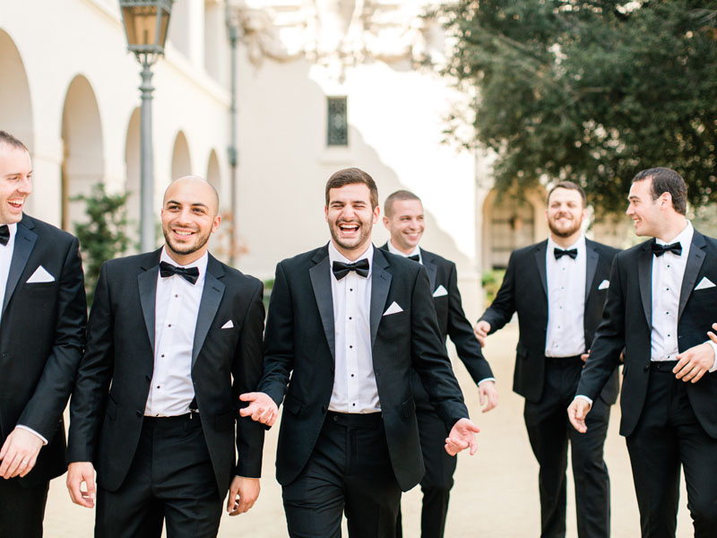 los angeles wedding groom with groomsmen
