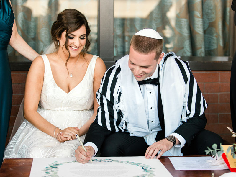jewish wedding los angeles signing the ketubah