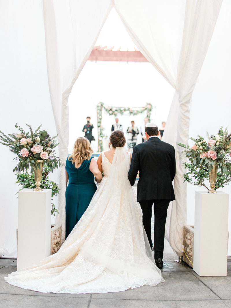 los angeles bride makes her entrance onto the NOOR terrace for the wedding ceremony