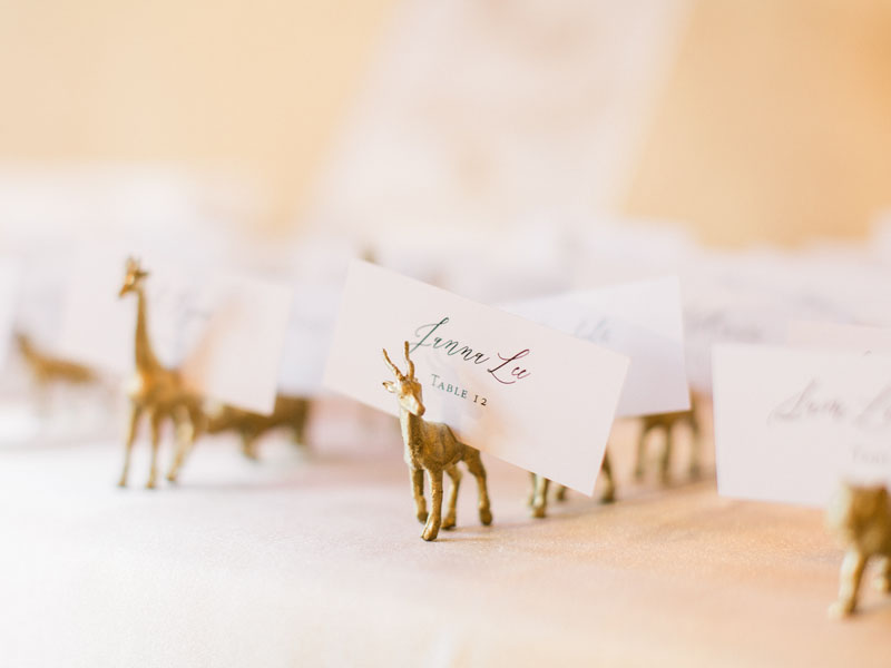 safari animal wedding place card holders los angeles wedding