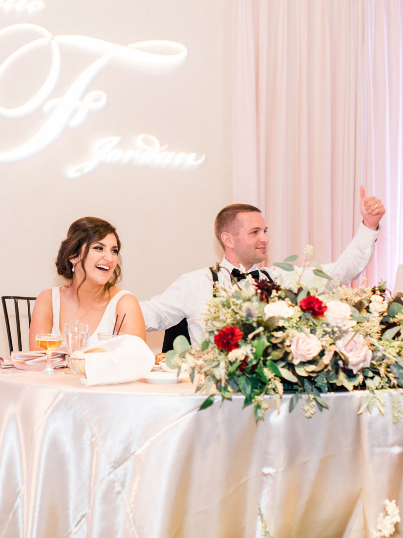 los angeles wedding bride and groom in NOOR's sofia ballroom banquet hall