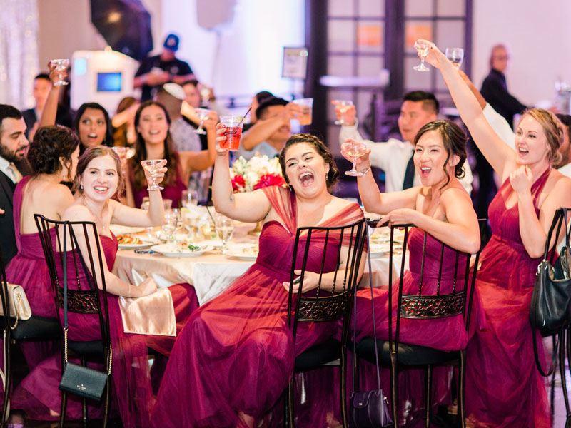bridesmaids toasting the bride and groom los angeles wedding