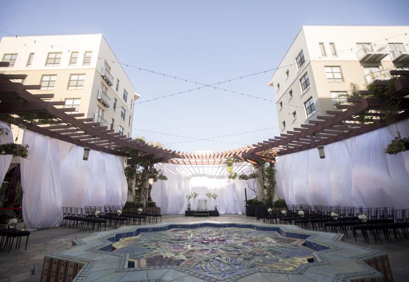 outdoor wedding ceremony setup pasadena noor terrace