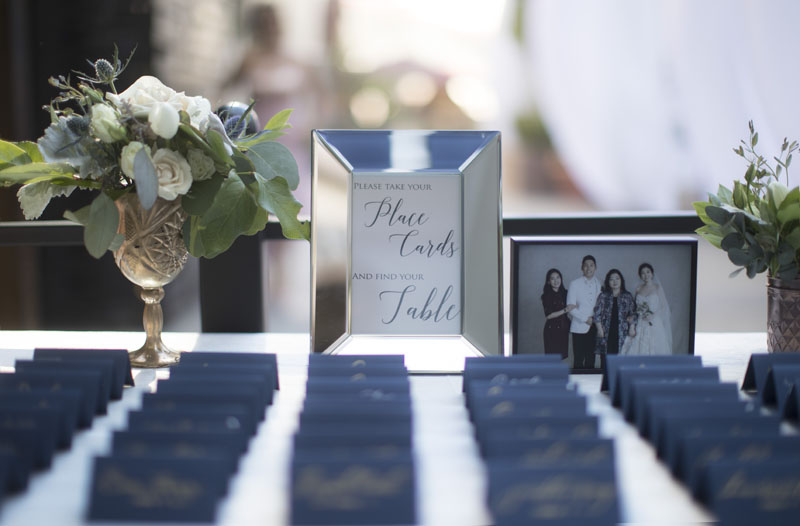 outdoor wedding ceremony pasadena place cards