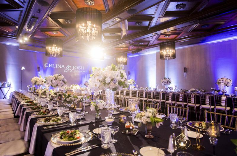 noor wedding reception pasadena ella ballroom banquet table setup