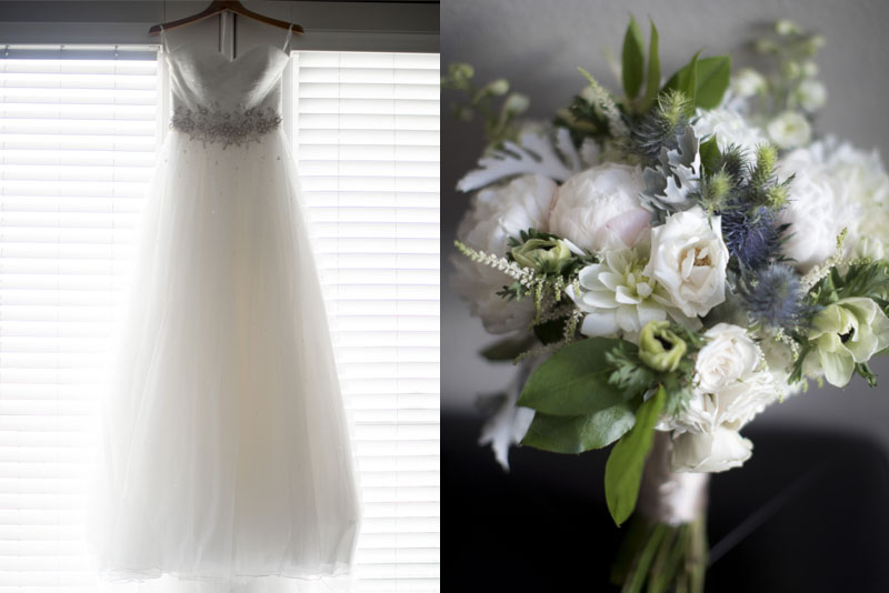 pasadena wedding dress and bouquet