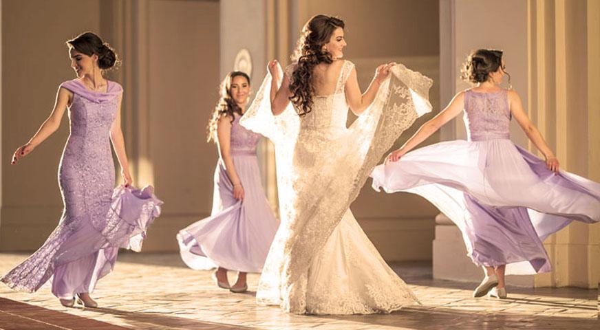 bride and bridesmaids at golden hour pasadena civic hall