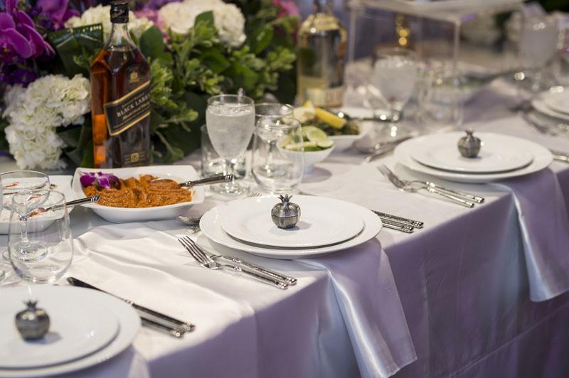 wedding table setup with favors