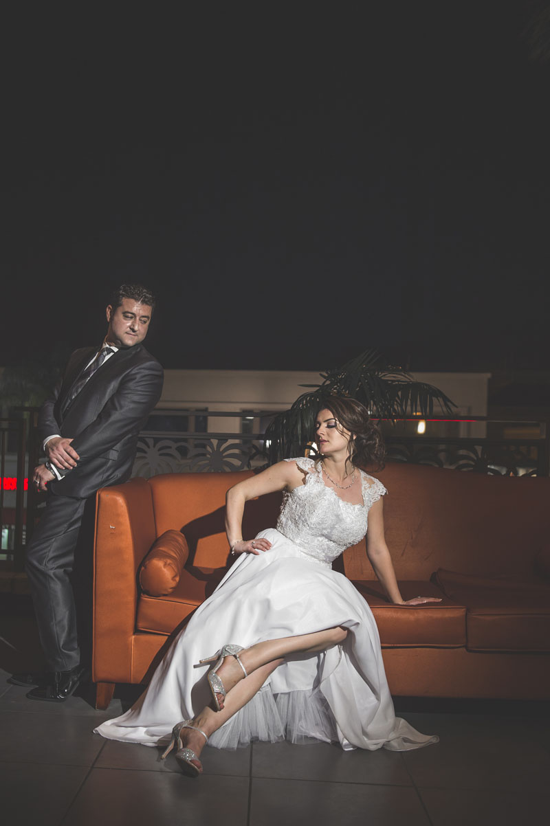 bride and groom portrait on NOOR's sofia balcony banquet hall lounge