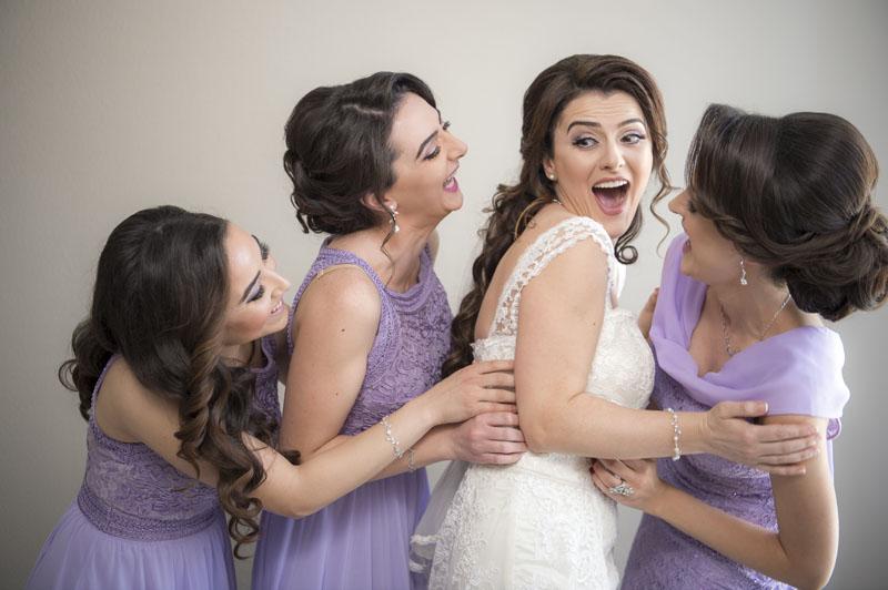 bride with her bridesmaids in the NOOR wedding suite