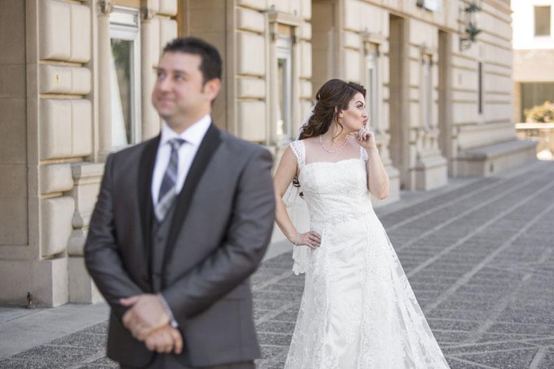 bride and groom first look NOOR pasadena