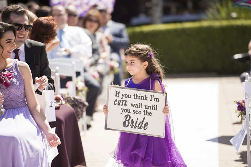 flower girl with sign los angeles wedding