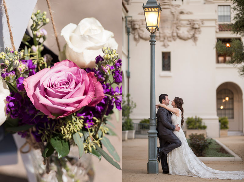 wedding ceremony details and bride and groom portrait at pasadena city hall