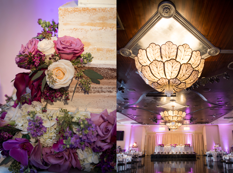 wedding cake details and the chandeliers at NOOR banquet hall los angeles