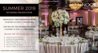 wedding promotion summer 2019 banquet hall wedding reception with floral centerpieces