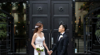 bride and groom first look outside the ella banquet hall at noor los angeles
