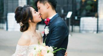 portrait of bride and groom outside ella banquet hall at noor los angeles