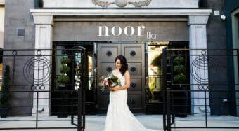 bride with bouquet wedding portrait outside the ella banquet hall at noor los angeles