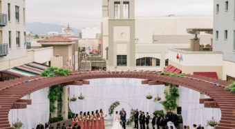 birds eye view of the noor terrace during a wedding ceremony
