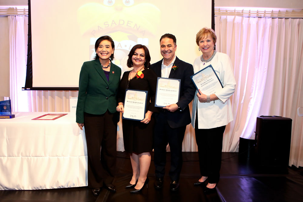 maggie and robert shahnazarian receive PAL award for work with pasadena youth
