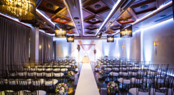 wedding ceremony in the sofia ballroom banquet hall