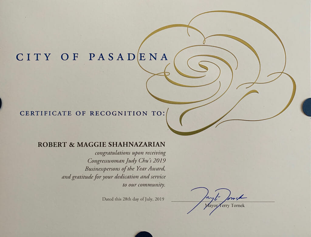 city of pasadena certificate of recognition