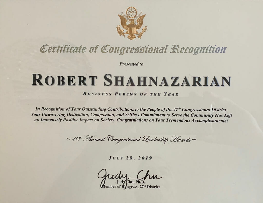 robert shahnazarian business person of the year award