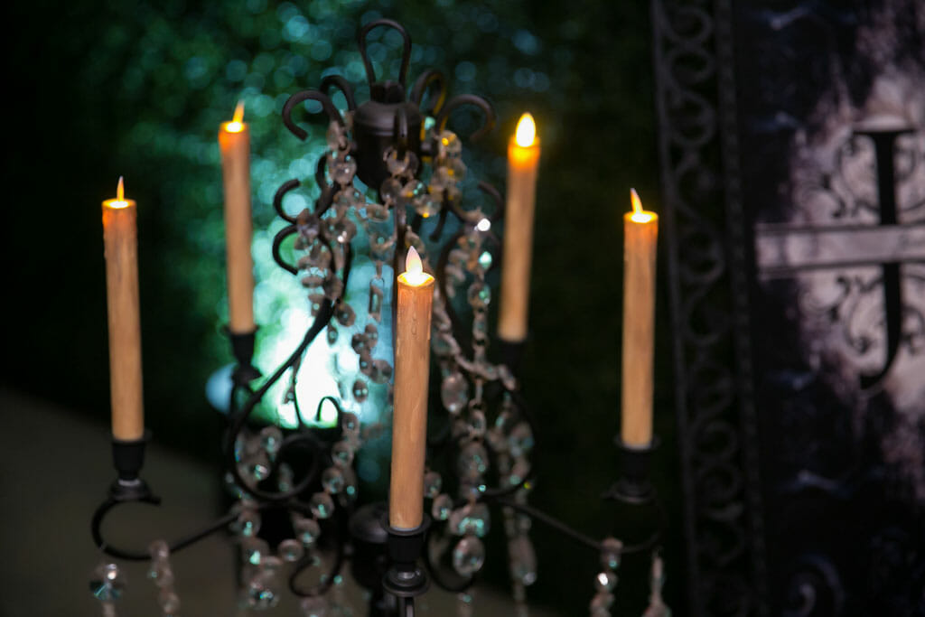 candleabra wedding decor with lit candles