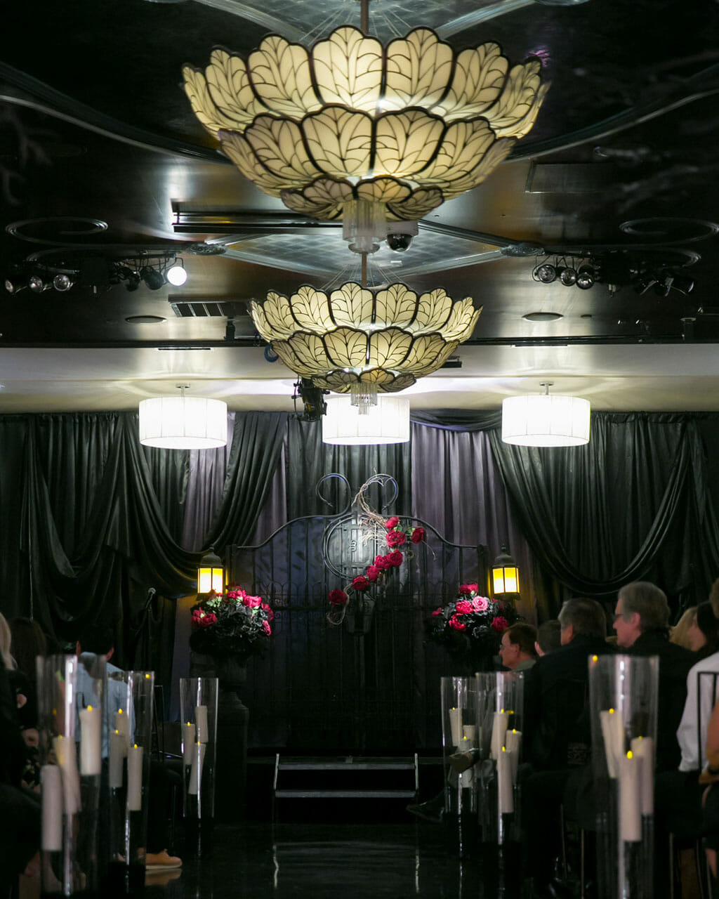 alternative wedding with black drapes and red roses at NOOR banquet hall los angeles