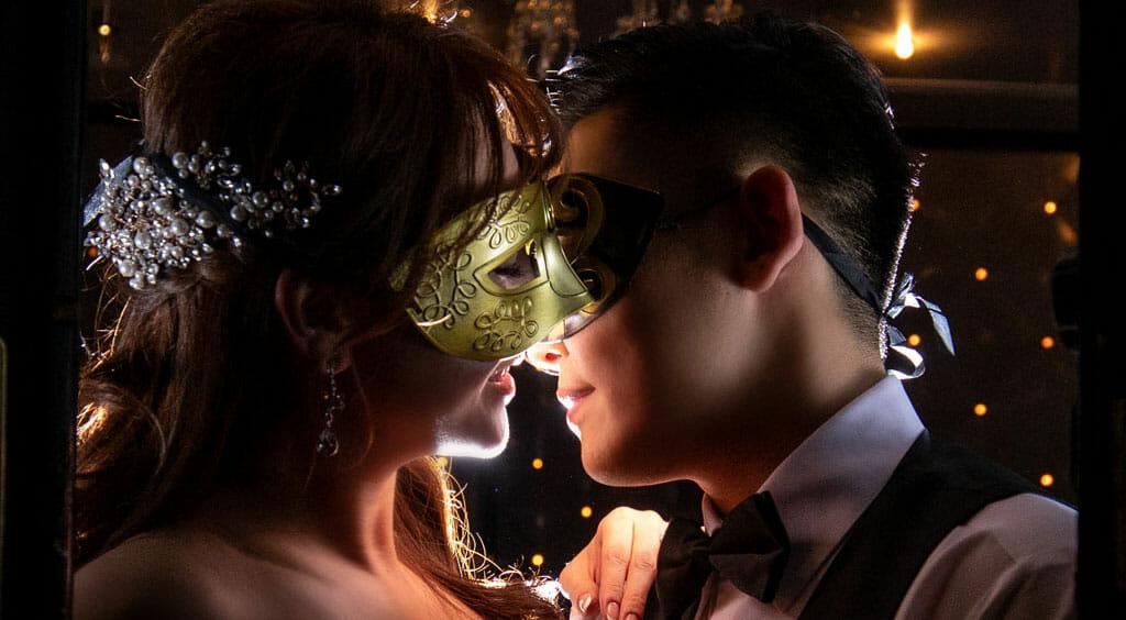 mardi gras themed wedding bride and groom