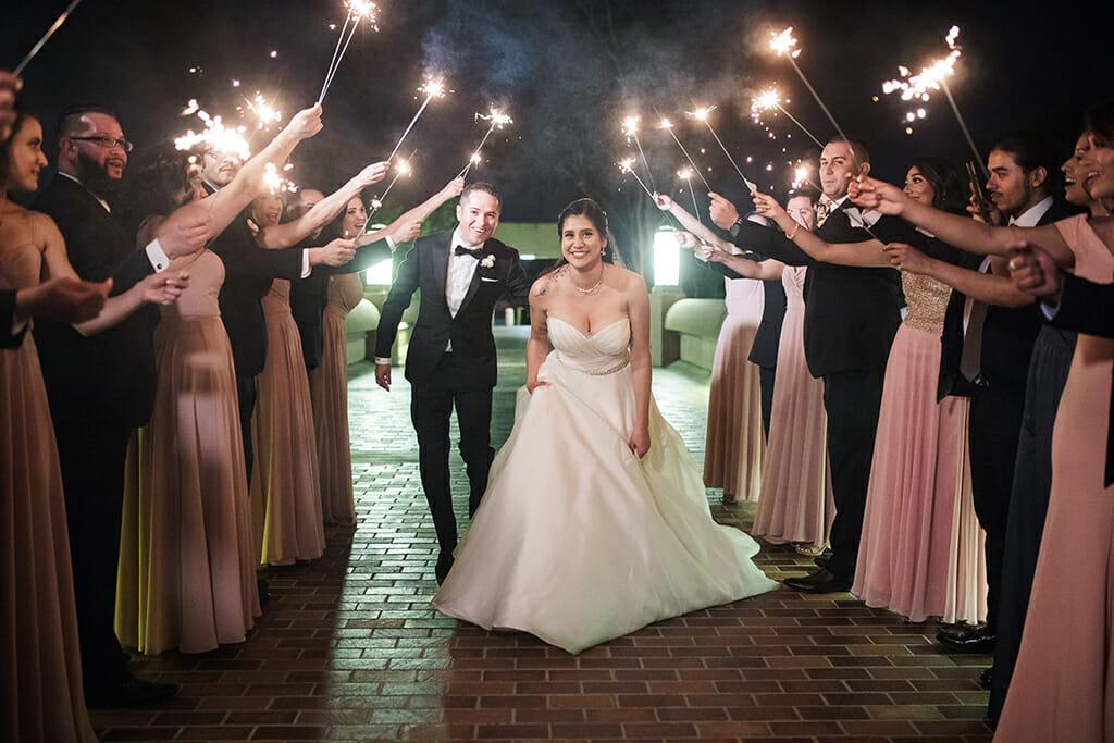 bride and groom wedding party sparkler exit and noor banquet halls pasadena