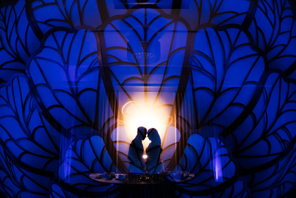 wedding couple silhouette in NOORs sofia banquet hall iconic chandelier