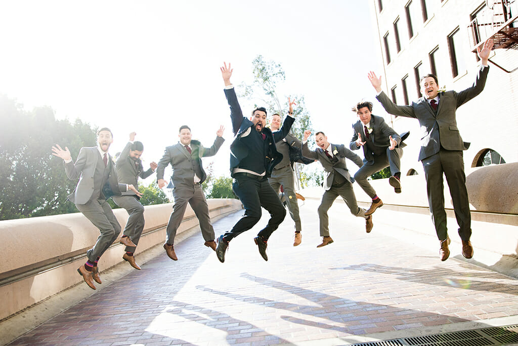 groom and groomsmen celebrating at NOOR paadena wedding banquet hall
